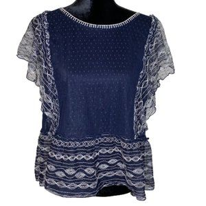 Meadow Rue Embroidered Navy Top Size M